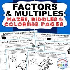 factors u0026 multiples gcf u0026 lcm mazes riddles u0026 coloring pages fun