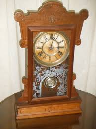 Ansonia Mantel Clock Beautiful Working Early Antique Waterbury 8 Day Wood Shelf Clock C
