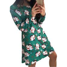 plus size christmas dress print sleeves promotion shop for