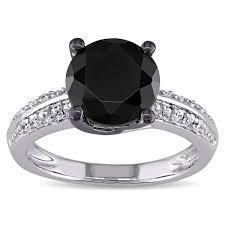 black cubic zirconia engagement rings miadora sterling silver black cubic zirconia engagement ring