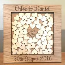 heart guest book personalised wedding oak wooden rustic drop box hearts guest book
