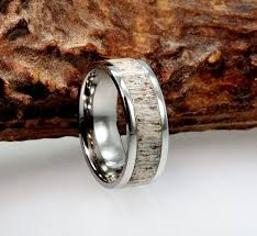 deer antler wedding band mens deer antler wedding bands luxury deer antler ring titanium