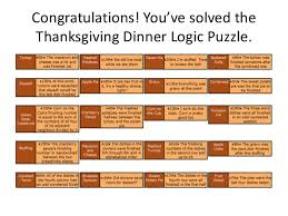 thanksgiving logic puzzle solution sporcle