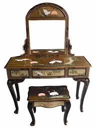 Oriental Secretary Desk by Oriental Chinese Furniture Gold Leaf Dressing Table Set With