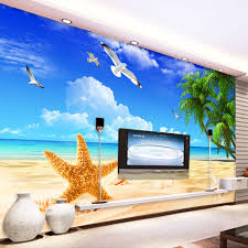 popular beach wall mural buy cheap beach wall mural lots from custom 3d mural wallpaper seaside landscape natural scenery seagull coconut tree beach wall mural living room