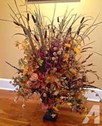 Flower Arrangements For Tall Vases Large Artificial Fall Flower Arrangement And Vase For Sale In