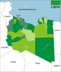 Libyas Flag Political Map Of Libya Country With Neighbors And National Flag