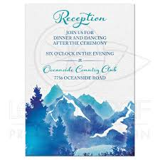 wedding reception cards mountain wedding reception card watercolor royal blue turquoise
