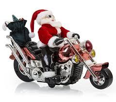 animated motorcycle santa claus biker musical figurine harley