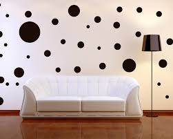 futuristic home interior design with black polka dot wall decals
