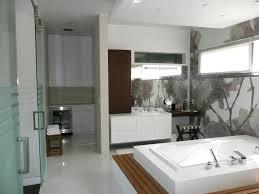 master bathroom design with brown ceramic idea and white bathtub
