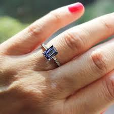 sapphire emerald cut engagement rings cheap engagement ring for estate blue sapphire engagement rings