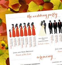 fall wedding programs fall wedding program bridal party silhouettes digital file