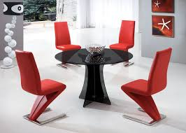 Red Dining Room Chair by Round Glass Dining Table Set For With Modern Style Gallery And Red
