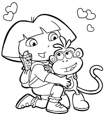 dora and boots coloring pages cecilymae