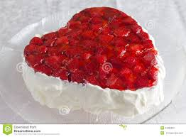 Strawberry Decorations Heart Shaped Bisccuit Cake With Strawberry Jelly On White