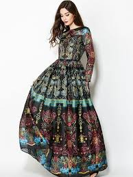 maxi dresses with sleeves floral printing ethnic pattern o neck sleeves maxi dresses