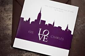 tri fold booklet wedding invitation modern ny skyline lepenn