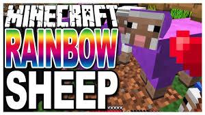 minecraft rainbow sheep growing coloured colored wool on sheep