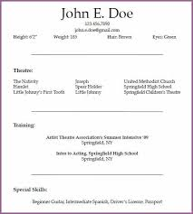 theatrical resume template theatre resume template acting resume