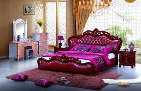 super king size luxury red leather bed with wood bed frame buy