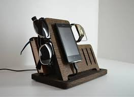 charging station wooden desk organizer wood iphone stand