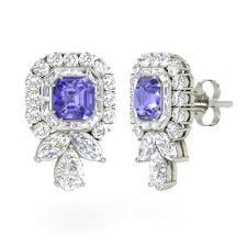 tanzanite stud earrings emerald cut tanzanite studs earring in 14k white gold with vs