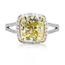 engagement ring cushion cut 18k white gold fancy yellow cushion cut engagement ring