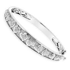 sterling silver bracelet with heart images Silver bracelets diamond heart bangle 0 33ct jpg
