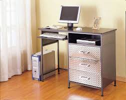 small computer corner desk with black rolling swivel chair space