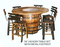 whiskey barrel table for sale jack daniel barrel table hickory whiskey barrel table set with