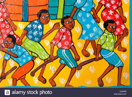 colourful colorful tribal painting art of happy people every day