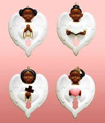 cherub wing african american christmas ornament set white the