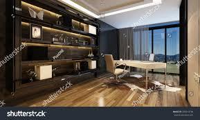 upmarket home office modern desk panoramic stock illustration