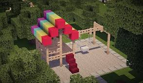 Minecraft How To Make Bathroom Minecraft Rainbow Playground Swing Set Wood Mindcraft Dream