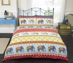 ethnic indian style duvet cover with elephant paisley print trendy bedding red sky blue yellow cream double