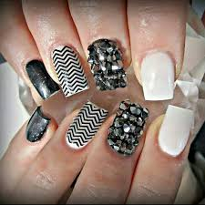 black and white acrylic nails with swarovski crystals nails