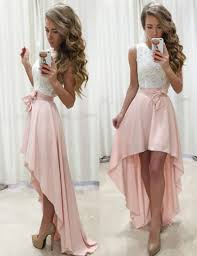 pink dresses buy a line sleeveless high low pearl pink prom dress with
