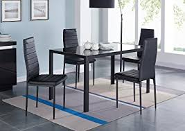 black dining room chairs set of 4 amazon com ids 5 piece compact dining table room set for 4 with