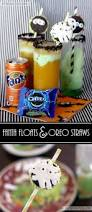my 3 monsters spooky snacks orange fanta floats and oreo straws