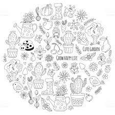 cute vector garden with birds cactus plants fruits berries