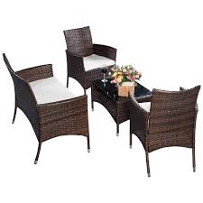 Good Rattan Specification 4 Pcs Outdoor Patio Rattan Table Sofa Set With Cushions Outdoor