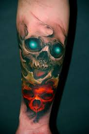 colored skull on forearm