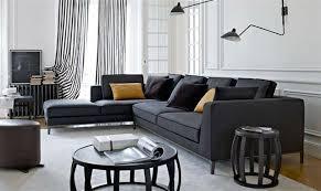 salon canapé noir design interieur canapé angle noir coussins noir jaune tables