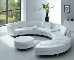 Contemporary White Coffee Table by Living Room White Leather Sofa White Cushions Plant In Vase