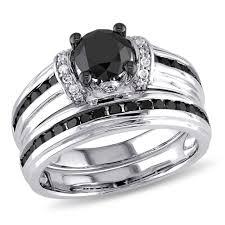 black bridal sets julie 1 2 3 ct tw black and white diamond 10k white gold