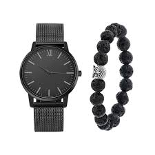 beaded bracelet watches images Lasperal simple valentine 39 s day women watch gift set black bead jpg