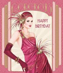 art deco woman open happy birthday female lovely greeting card ebay