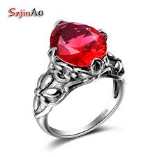 red silver rings images Szjinao promotion luxurious real 925 sterling silver ring for jpg