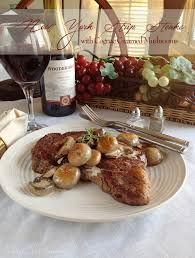 cognac cuisine york steaks with cognac creamed mushrooms for